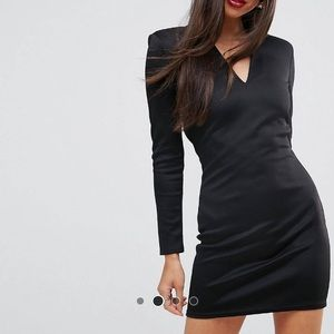 Open back mini dress with shoulder pads